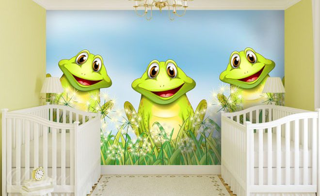 Little-frogs-on-a-may-season-meadow-for-children-wall-murals-demur