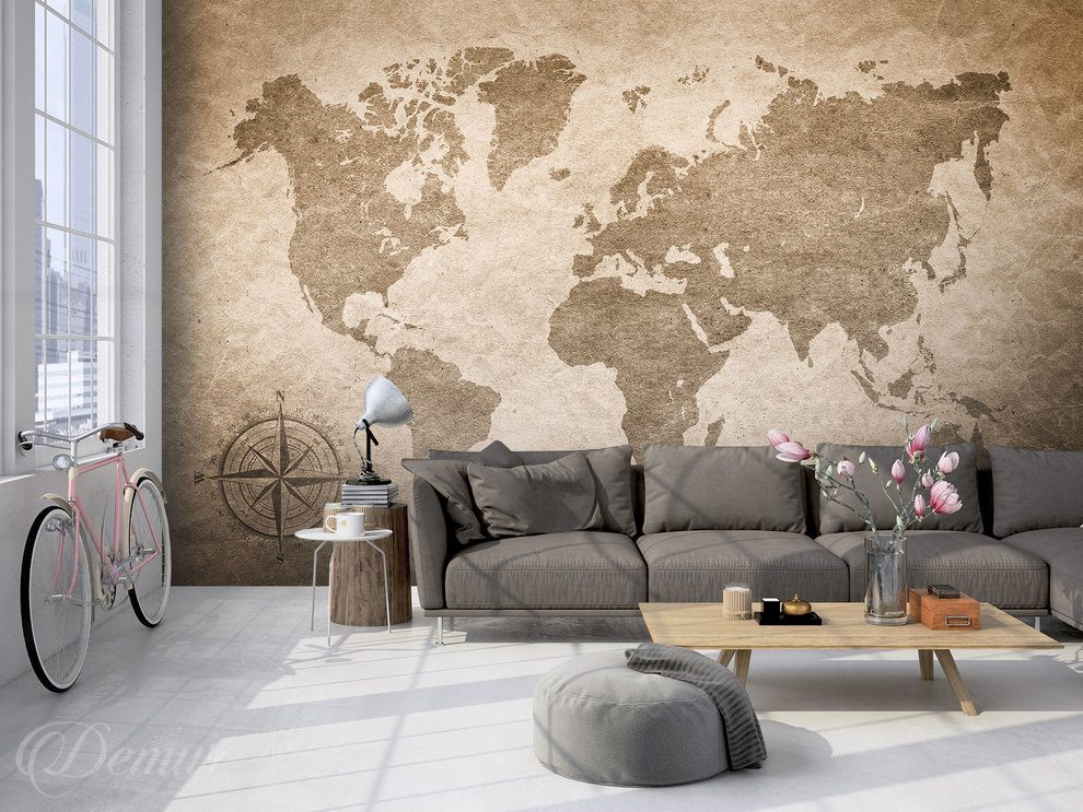 By bike through the world map   world map   Wall Murals   Demur