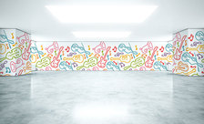 Colorfully-musical-simplicity-dance-school-wall-murals-demur