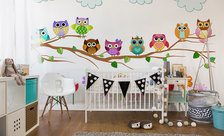 Sleepy-owls-sleeping-at-dusk-for-children-wall-murals-demur
