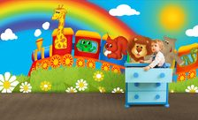 The-colorful-zoo-locomotive-for-children-wall-murals-demur